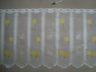 Hullámos aljú, színes virágos mintájú jacquard vitrázsfüggöny, 60 cm magas (7223-9)
