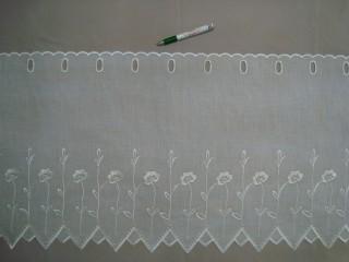 Cikk-cakkos aljú, ekrü színű,virág mintájú batiszt anyagú vitrázsfüggöny, 45 cm magas (7223-10)