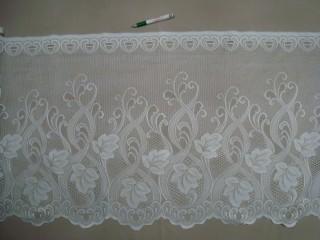 Hullámos aljú, fehér, indás-virágos mintájú jacquard vitrázsfüggöny, 60 cm magas (7223-16)