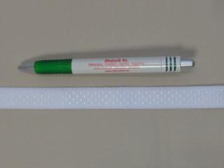 Melltartó gumi, fehér pöttyös, 18 mm széles (11550)