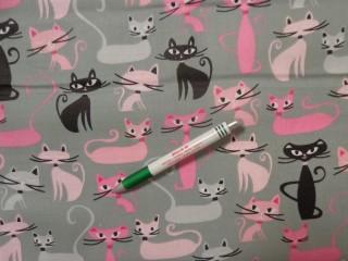 Gyerekmintás pamutvászon, szürke alapon rózsaszín cicák (11601)