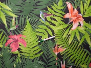 Loneta, fekete alapon dzsungel mintás, kerti bútor vászon (11611)
