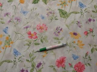 Loneta, ekrü alapon színes mezei virágos, kerti bútor vászon (11612)
