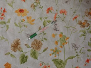 Loneta, sárga-barna mezei virágos, kerti bútor vászon (11616)