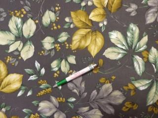 Loneta, sötétszürke alapon zöld-sárga leveles, kerti bútor vászon (11618)