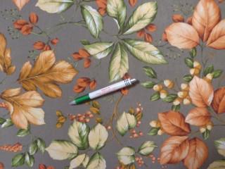 Loneta, szürke alapon zöld-barna leveles, kerti bútor vászon (11619)