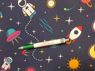 Loneta, sötétkék alapon űrhajós, kerti bútor vászon (11621)