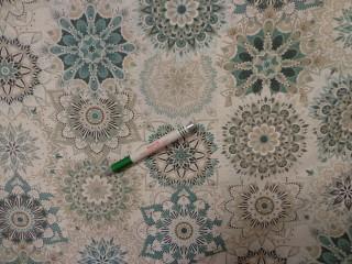 Loneta, türkiz-drapp mandalás, kerti bútor vászon (11626)