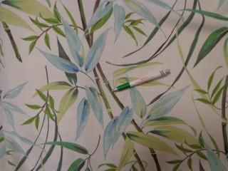Loneta, ekrü alapon kék-zöld leveles, bambuszos, kerti bútor vászon (11627)