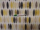 Loneta, sárga-barna ovál mintás, kerti bútor vászon (11629)