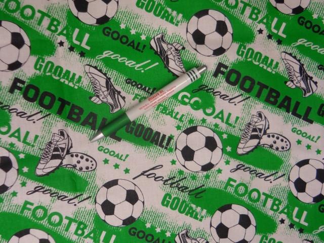 Gyerekmintás pamutvászon, focis, zöld-fehér-fekete (11593)