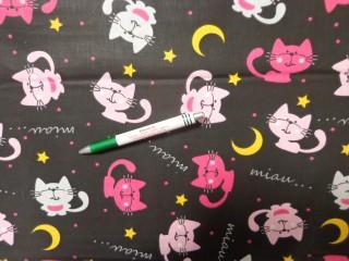 Gyerekmintás pamutvászon, fekete alapon miau-cicás (11597)