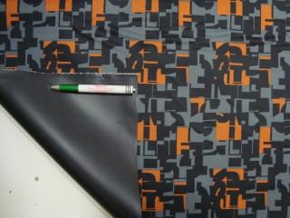 Narancs-szürke-fekete mintás PTP anyag (11637)