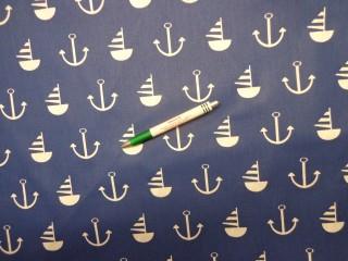 Mintás pamutvászon, kék alapon tengerész mintás (11677)