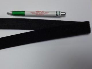 Elasztikus tépőzár, 3 cm széles, fekete (11682)