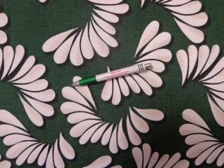 Loneta, sötét zöld alapon fehér mintás kerti bútor vászon (11703)