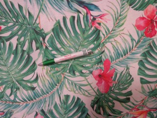 Loneta, fehér alapon dzsungel mintás kerti bútor vászon (11705)