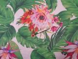 Loneta, fehér alapon óriás leveles-virágos kerti bútor vászon (11706)