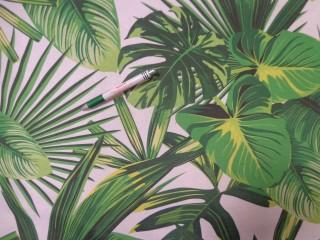 Loneta, törtfehér alapon nagy zöld leveles kerti bútor vászon (11707)