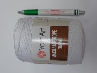 Macrame Rope 3 mm, kifésülhető zsinórfonal, fehér (11781-751)