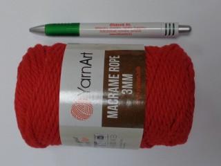 Macrame Rope 3 mm, kifésülhető zsinórfonal, piros (11782-773)