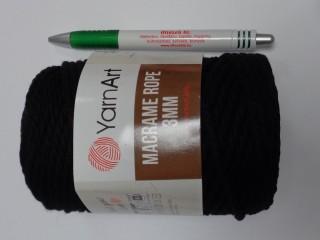 Macrame Rope 3 mm, kifésülhető zsinórfonal, fekete (11783-750)