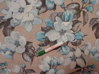 Loneta, drapp alapon kék-szürke virágos, kerti bútor vászon (11798)