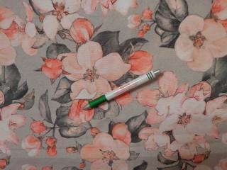 Loneta, szürke alapon barack virágos, kerti bútor vászon (11799)