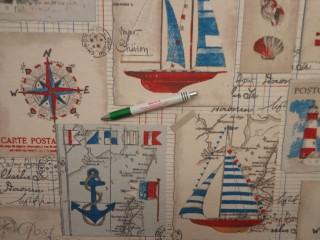 Loneta, hajós-térképes, kerti bútor vászon (11803)