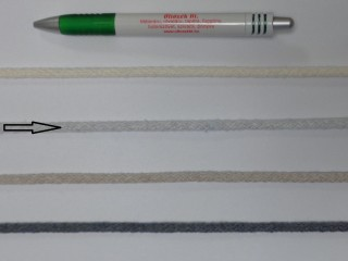 Szőtt, fonatolt pamut zsinór, világos szürke, 5 mm-es (11835)