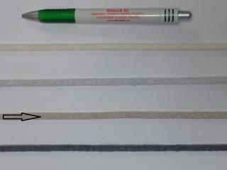 Szőtt, fonatolt pamut zsinór, világos drapp, 5 mm-es (11836)