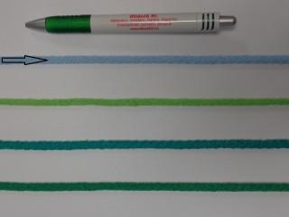 Szőtt, fonatolt pamut zsinór, világoskék, 5 mm-es (11839)