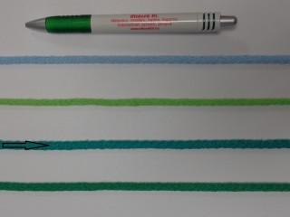 Szőtt, fonatolt pamut zsinór, benetton zöld, 5 mm-es (11840)