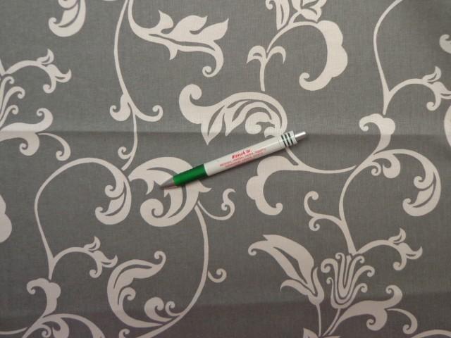 Mintás pamutvászon, szürke alapon fehér mintás (11859)