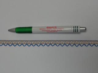 Pamut csipke, drapp-kék, 10 mm széles (11877)