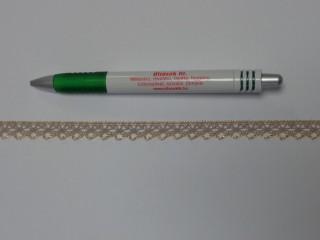 Pamut csipke, drapp-arany, 10 mm széles (11878)