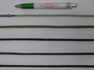 Szőtt, fonatolt pamut zsinór, világos keki, 5 mm-es (11881)
