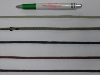 Szőtt, fonatolt pamut zsinór, sötét keki, 5 mm-es (11882)