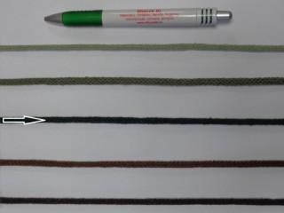 Szőtt, fonatolt pamut zsinór, sötétzöld, 5 mm-es (11883)