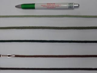 Szőtt, fonatolt pamut zsinór, barna, 5 mm-es (11884)