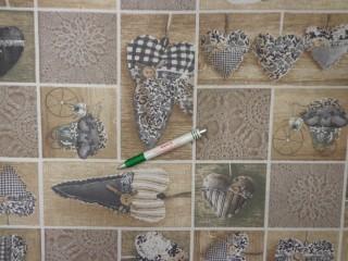Loneta, drapp-szürke kockába szíves, kerti bútor vászon (11919)