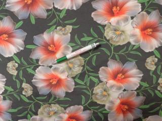 Loneta, sötétszürke alapon liliomos, kerti bútor vászon (11934)
