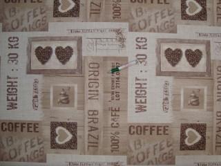Viaszos vászon, kávés-szívecskés (11953)