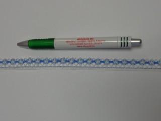 Pamut csipke, ekrü-kék, 12 mm széles (11984)