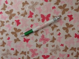 Pelenka anyag, rózsaszín-barna pillangós (11202)