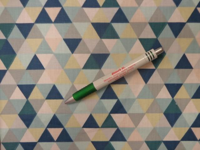 Mintás pamutvászon, zöld-menta háromszöges (12023)