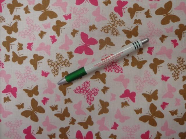 Mintás pamutvászon, rózsaszín-pink-barna pillangós (12025)