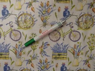 Mintás pamutvászon, levendulás-biciklis (12073)