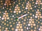 Karácsonyi mintás kevertszálas vászon, zöld alapon arany-fehér csillagos (12099)