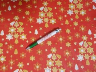 Karácsonyi mintás kevertszálas vászon, piros alapon arany-fehér csillagos (12100)